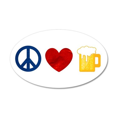 Peace Love Beer Wall Decal