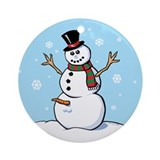 Naughty Snowman Ornament (Round)