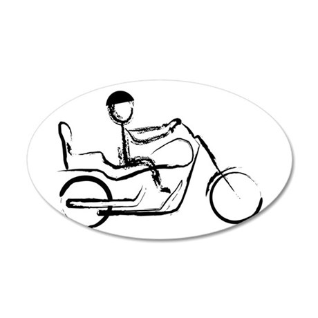 Motorcycle Man 35x21 Oval Wall Decal
