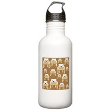 Tan Bulldogs on Brown Water Bottle