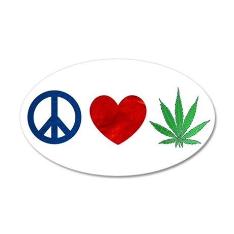 Peace Love Weed Wall Decal