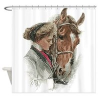 Vintage Girl And Horse Shower Curtain