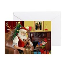Santa's Airedale (3) Greeting Cards (Pk of 10)