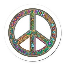 Peace Zentangle Round Car Magnet