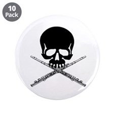 """Skull with Flutes 3.5"""" Button (10 pack)"""