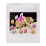 Happy Easter Golden Retriever Puppy Throw Blanket