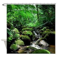 Tropical Rainforest Stream Hawaii Shower Curtain