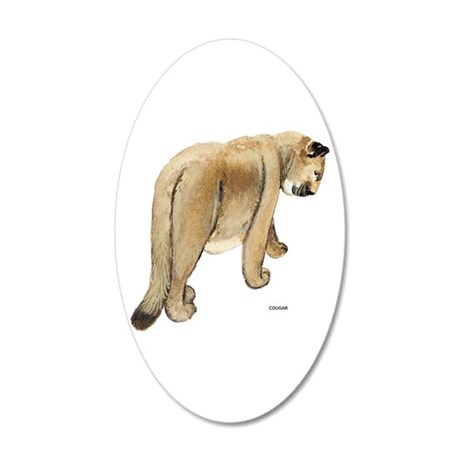 Cougar Cat Animal 20x12 Oval Wall Decal