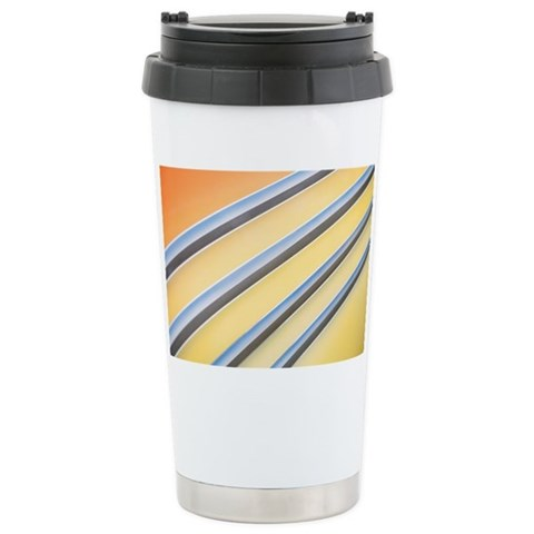 Chrome stripes on an automobile Ceramic Travel Mug