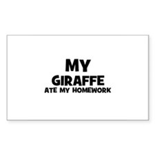 My Giraffe Ate My Homework Rectangle Decal