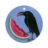 Crow &amp; Watermelon Ornament (Round)