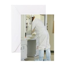 Scientist working at a fume hood Greeting Card