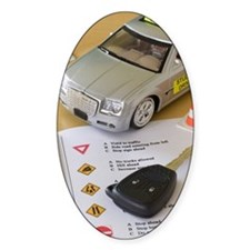 Toy car, car key, and driver's lice Decal