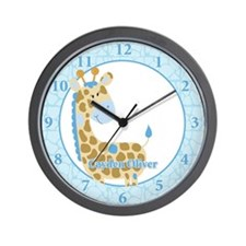 Jungle Giraffe Blue Clock - Cayden Oliver Wall Clo