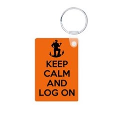 Keep Calm and Log On - orange Keychains