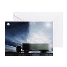 Semi truck transporting overnight de Greeting Card