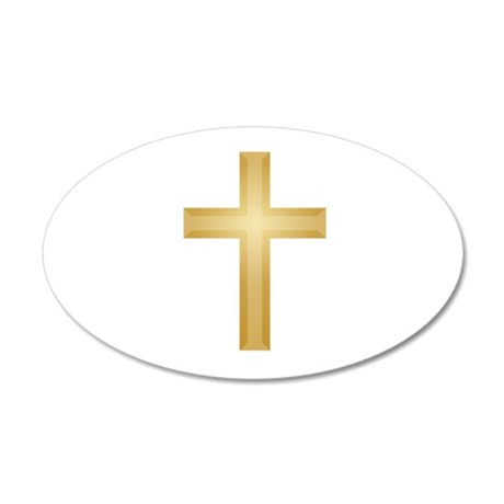 Gold Cross/Christian 38.5 x 24.5 Oval Wall Peel