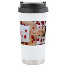 Woman covered in flower petals  Ceramic Travel Mug