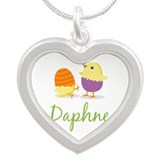 Easter Chick Daphne Silver Heart Necklace