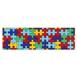 Autism Awareness Puzzle Piece Pattern Bumper Stick