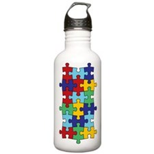 Autism Awareness Puzzle Piece Pattern Water Bottle