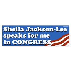 Sheila Jackson-Lee Speaks for Me bumpersticker