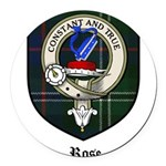 Rose Clan Crest Tartan Round Car Magnet
