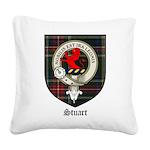 Stuart Clan Crest Tartan Square Canvas Pillow