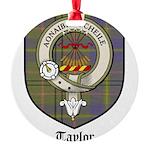 Taylor Clan Crest Tartan Round Ornament