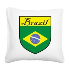Brazil Flag Crest Shield Square Canvas Pillow