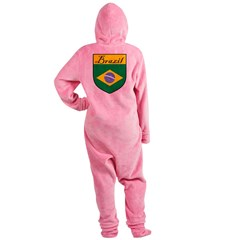 Brazil Flag Crest Shield Footed Pajamas