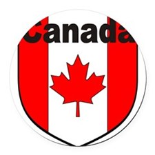Canadian Flag Shield Round Car Magnet