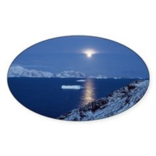 Moon Rise Antarctica Oval Decal
