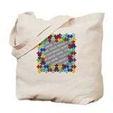 CUSTOM PHOTO Autism Awareness Puzzle Border Tote B