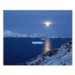 Moon Rise Antarctica Small Poster