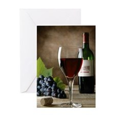 Glass of wine and grapes Greeting Card