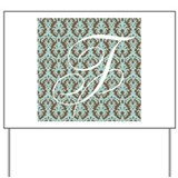 F Initial Damask Turquoise and Chocolate Yard Sign