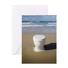 Toilet on beach Greeting Card