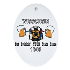 Wisconsin Oval Ornament