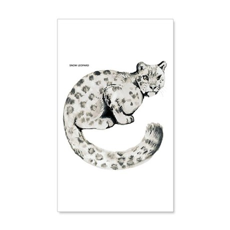 Snow Leopard Cat 35x21 Wall Decal