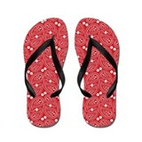 Red and White Paisley Flip Flops