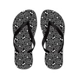 Black and White Paisley Flip Flops