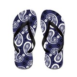 Blue and White Paisley Flip Flops