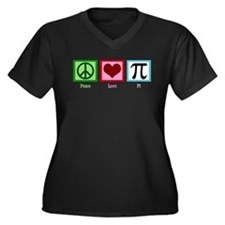 Peace Love Pi Women's Plus Size V-Neck Dark T-Shir