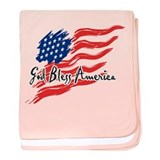 "American Flag inscribed ""God Bless America"" baby b"