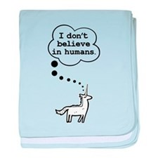I dont believe in humans baby blanket