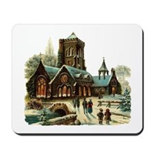 Christmas Night - Victorian Church Scene Mousepad