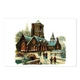 Christmas Night - Victorian Church Scene Postcards