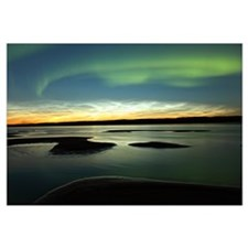 Aurora Borealis Over The Mackenzie River, Fort Sim