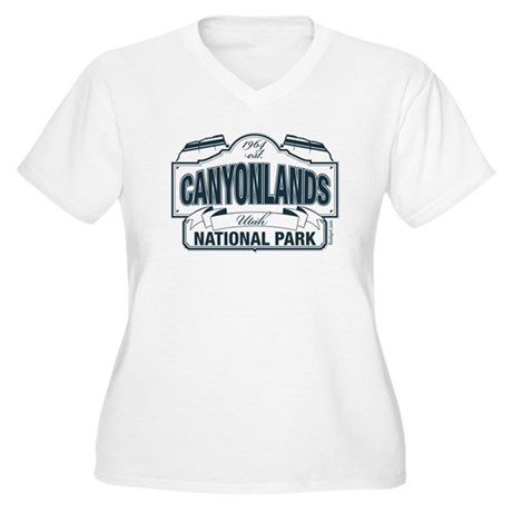 Canyonlands Blue Sign Women's Plus Size V-Neck T-S